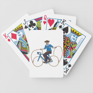 Cowboy Riding Bike With Lasso Wheels Bicycle Playing Cards