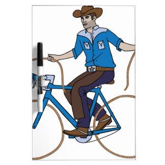 Cowboy Riding Bike With Lasso Wheels Dry Erase Board