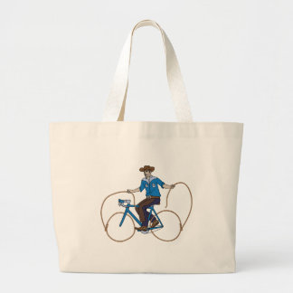 Cowboy Riding Bike With Lasso Wheels Large Tote Bag