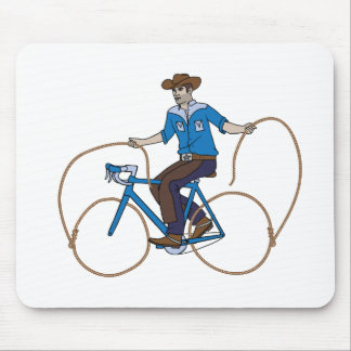 Cowboy Riding Bike With Lasso Wheels Mouse Pad