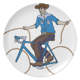 Cowboy Riding Bike With Lasso Wheels Plate