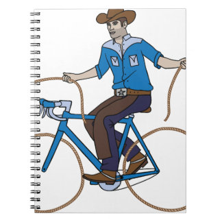 Cowboy Riding Bike With Lasso Wheels Spiral Notebook