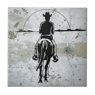 Cowboy Riding Into Sunset Western Horse Small Square Tile