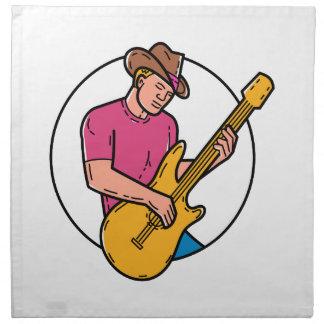 Cowboy Rocker Guitarist Mono Line Art Napkin
