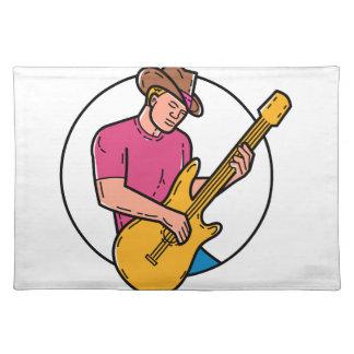Cowboy Rocker Guitarist Mono Line Art Placemat
