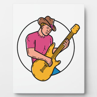 Cowboy Rocker Guitarist Mono Line Art Plaque
