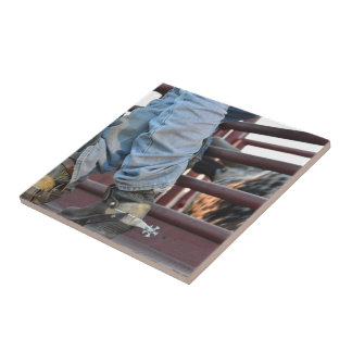 Cowboy Rodeo Bull Rider And Bull Chute Ceramic Tile