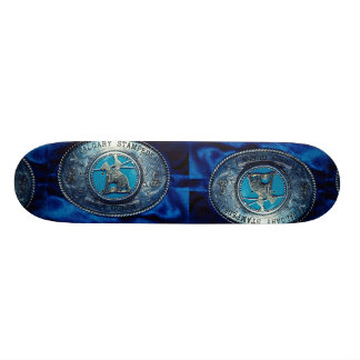 Cowboy rodeo trophy buckle, Alberta, Canada Skate Boards
