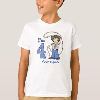 Cowboy Roper 4th Birthday Personalised T-Shirt