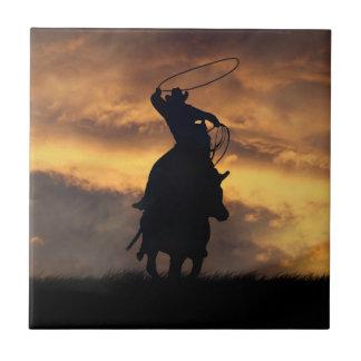 Cowboy Roping Art Tile