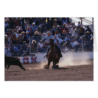 Cowboy Roping Calf at Rodeo Card
