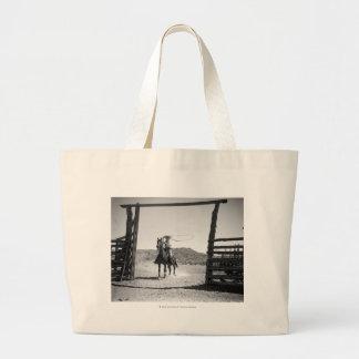 Cowboy roping jumbo tote bag