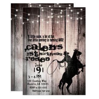 Cowboy Rustic Wood Barn Country 1st Birthday Party Card