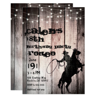 Cowboy Rustic Wood Barn Country Birthday Party Card