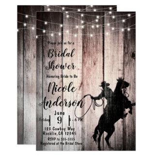 Cowboy Rustic Wood Barn Country Bridal Shower Card