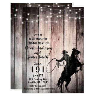 Cowboy Rustic Wood Barn Country Engagement Shower Card