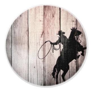 Cowboy Rustic Wood Barn Country Wild West Ceramic Knob