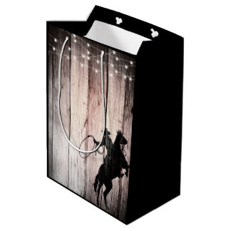Cowboy Rustic Wood Barn Country Wild West Medium Gift Bag