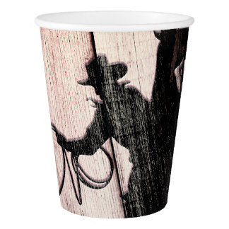 Cowboy Rustic Wood Barn Country Wild West Paper Cup