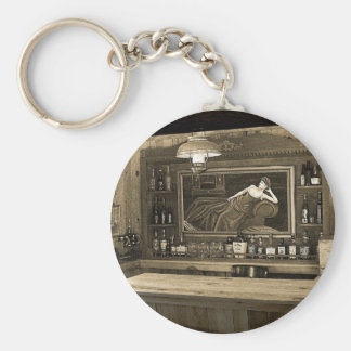 Cowboy Saloon Basic Round Button Key Ring
