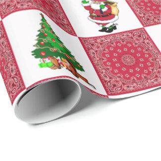 Cowboy Santa With Red Bandana Print Wrapping Paper
