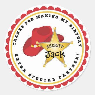 Cowboy Sheriff Birthday Stickers