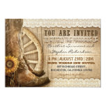 cowboy shoes sunflowers brown wood wedding invites 13 cm x 18 cm invitation card