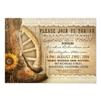 cowboy shoes sunflowers wood engagement invites