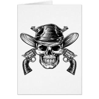 Cowboy Skull and Pistols Card