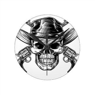 Cowboy Skull and Pistols Round Clock