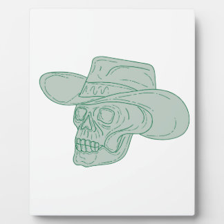 Cowboy Skull Drawing Plaque