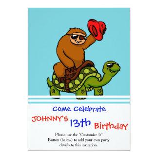 Cowboy sloth Riding Turtle Card