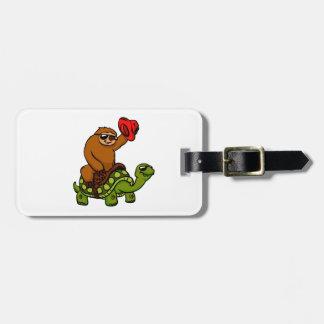 Cowboy sloth Riding Turtle Luggage Tag