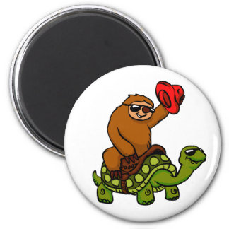 Cowboy sloth Riding Turtle Magnet