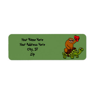 Cowboy sloth Riding Turtle Return Address Label