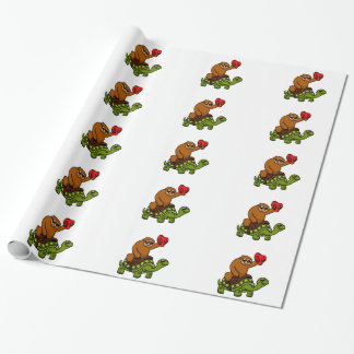 Cowboy sloth Riding Turtle Wrapping Paper