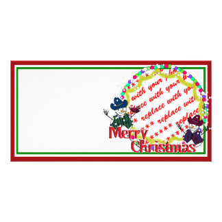 Cowboy Snowmen Christmas Photo Frame Picture Card