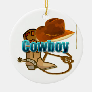 Cowboy text with boot, hat, and rope design ceramic ornament