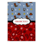 Cowboy Thank You Note / red blue paisley boots Cards