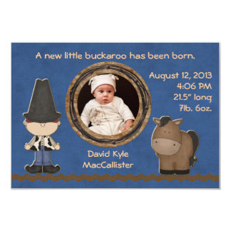 Cowboy Theme Baby Boy Birth Announcement