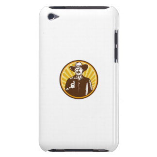 Cowboy Thumbs Up Sunburst Circle Woodcut Barely There iPod Cases
