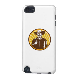Cowboy Thumbs Up Sunburst Circle Woodcut iPod Touch (5th Generation) Covers