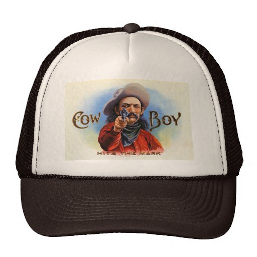 Cowboy - Vintage Ad - Hits the Mark Trucker Hats
