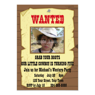 Cowboy Wanted Poster Birthday Party 13 Cm X 18 Cm Invitation Card
