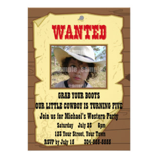 Cowboy Wanted Poster Birthday Party Announcement
