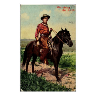 Cowboy, Watching the Cattle, Western Vintage Poster