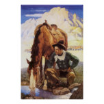 Cowboy Watering His Horse by NC Wyeth, Vintage Art Poster