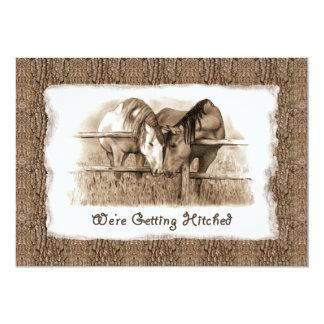 Cowboy Wedding Invitation: Getting Hitched: Horses 13 Cm X 18 Cm Invitation Card