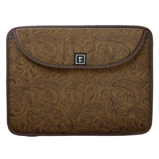 Cowboy Western Brown Tooled Leather Look Sleeve For MacBooks