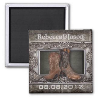 cowboy western country wedding save the date magnet